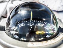 Sailing boat compass helm station Royalty Free Stock Photos