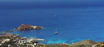 Sailing boat in corsica coast. Near centuri harbor Royalty Free Stock Images