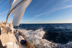 Sailing boat crop in the sea Stock Images