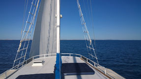 Sailing boat cruising to Dalmatian islands Royalty Free Stock Images