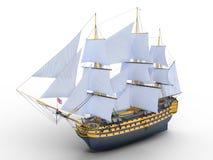 Sailing boat. 3D illustration of a sailing boat Royalty Free Stock Images