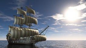 Sailing boat. 3D illustration of sailing boat and sea stock photography