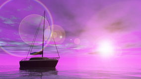 Sailing boat - 3D render Stock Photography