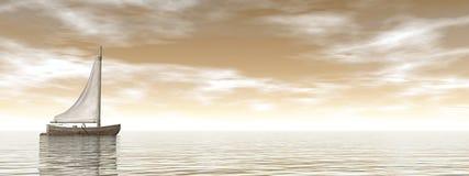 Sailing boat - 3D render Royalty Free Stock Image
