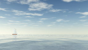Sailing boat - 3D render Royalty Free Stock Photos