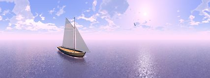 Sailing boat, 360 degrees effect - 3D render Royalty Free Stock Images