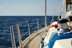 Sailing Boat. Detail of a sailing boat cruising royalty free stock images