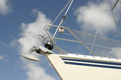Sailing boat in dock. Details sailing boat--low angle Royalty Free Stock Image
