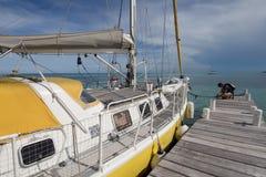 Sailing boat at dock stock images