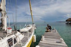 Sailing boat at dock stock image
