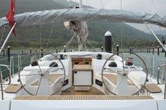 Sailing boat docked in marina Royalty Free Stock Images