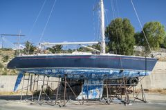 Sailing boat in dry dock royalty free stock photo