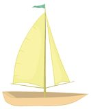 Sailing boat. With a flag on the mast, isolated on white background. Vector Royalty Free Stock Image