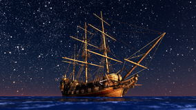 Sailing boat goes on a voyage under starlight  . Royalty Free Stock Images
