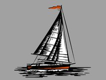 Sailing boat on a grey background. Sailing schooner black on grey background. Hand drawn engraving imitation.  Design silhouette. Isolated vector design royalty free illustration