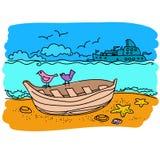 Sailing boat hand drawn Stock Photos