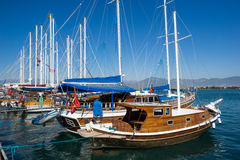 Sailing boat in harbor Stock Photo