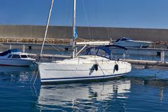 Sailing boat harbor. Sea port ship stock image