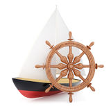 Sailing boat and helm Royalty Free Stock Photography