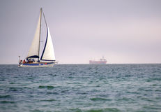 Sailing boat the high seas Stock Photo