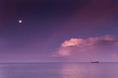 Sailing boat at the horizon Royalty Free Stock Image