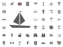 Sailing boat icon. Summer holidays and Traveling vector icons set. vector illustration