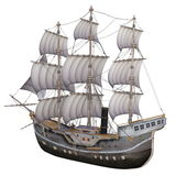 Sailing boat. Image of a sailing boat on white Royalty Free Stock Photos