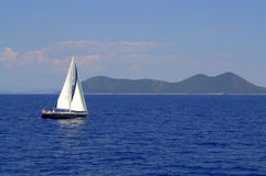 Sailing boat in Ionian Sea Greece Royalty Free Stock Images