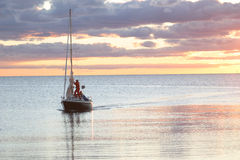 Sailing Boat On Its Way Into Harbour stock image