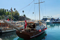 The sailing boat in landing stage Royalty Free Stock Photos