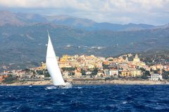 Sailing boat in Liguria, Italy Royalty Free Stock Photography