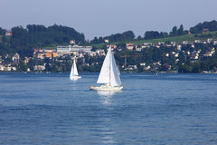 Sailing boat in Lucerne lake Stock Photos