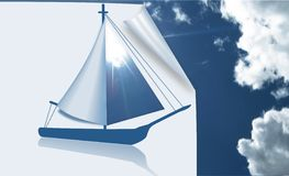 Sailing a boat made of paper. Stock Images