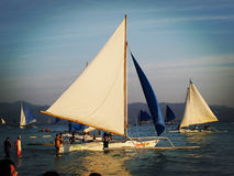 Sailing boat. Many sailing boat are ready to sail with the visitors Stock Images