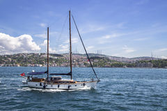 A sailing boat in the Marmaris sea Royalty Free Stock Image