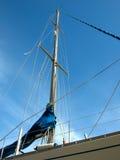 Sailing boat mast. Down view of a sailing boat mast Stock Photo
