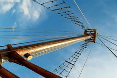 Sailing boat mast and blue skies in Norway Stock Images