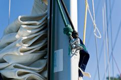 Sailing boat mast with mainsail and spinnaker Stock Images