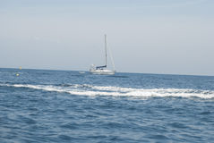 Sailing boat. Boat that is sailing in the Mediterranean Royalty Free Stock Photography
