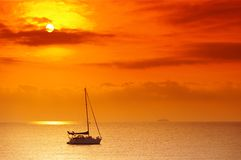 Sailing boat in mediterranean sea Royalty Free Stock Image
