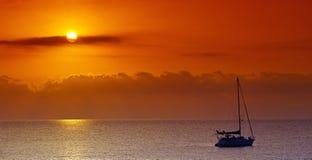 Sailing boat in Mediterranean sea. Royalty Free Stock Photo