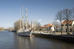 Sailing boat Meridianas, symbol of Klaipeda. Autumn: Sailing boat Meridianas, the symbol of Klaipeda, Lithuania Royalty Free Stock Photos