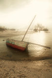 Sailing boat in the mist stock photos