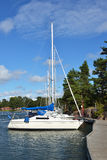 Sailing boat on mooring in Aland Islands Stock Photo