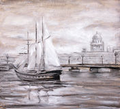 Sailing boat near city. Royalty Free Stock Images