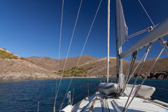 Sailing boat near greece island Stock Image
