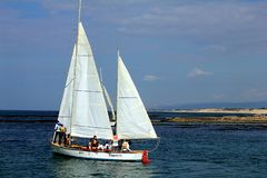 Sailing boat near Haifa, Israel royalty free stock photography