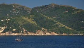 Sailing boat nearby Elba Island, Italy Royalty Free Stock Photos