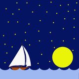 Sailing boat in the night, huge moon Stock Photos