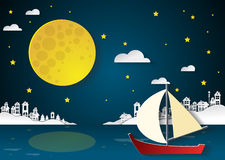 Sailing boat at nighttime with full moon and cityscapes.paper cu Stock Image